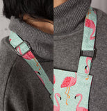 A collage of two close up pictures of the apron straps.