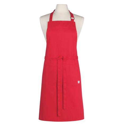 Red Chef Apron with an adjustable neck strap.
