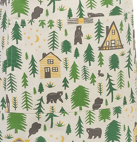 This apron features trees,houses,bears and campgrounds.