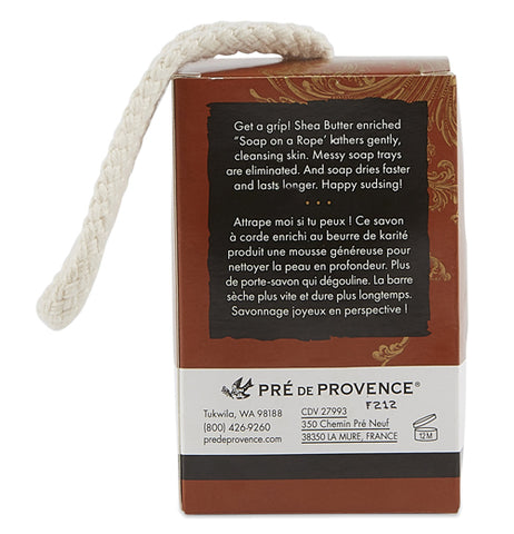 "The back of the bar soap's box is shown with words of soap and bath in white lettering. The logo, ""Pre De Provence"" is shown near the bottom in black lettering."