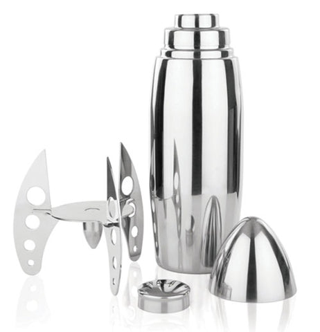 Silver rocket shaped Cocktail Shaker taken apart showing all components against a white background