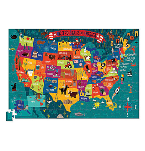 200 piece puzzle of the USA put together.