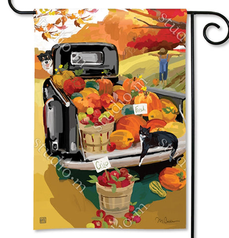This garden flag features a black pick-up truck with a bed full of pumpkins, gourds, and apples. A black and white dog leans out the driver side window of the truck and a black and white cat lays on the truck's back gate. Below the truck's open gate is a basket full of apples. In the background sits a scarecrow in front of some autumn trees with red and golden leaves. A black metal hanger holds the flag.