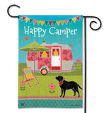"Garden flag that says ""Happy camper"" with a pink camper, a chair and umbrella, a puppy with a red collar on, and two flowers in front of him."