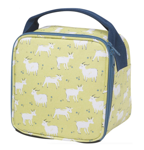 This yellow lunch bag is covered with white goats.