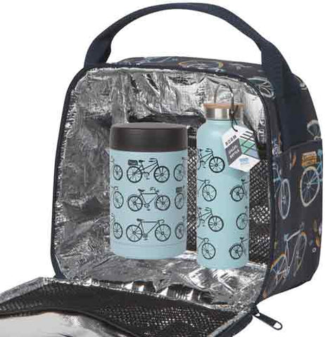 """Sweet Ride"" large blue food jar with black bicycle design inside a lunch sack with silver foil lining next to a blue water bottle with black bike design."