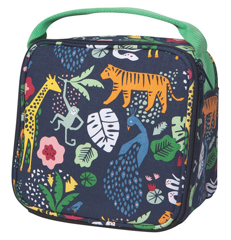 This black lunchbox with a green handle features a design of different jungle animals, such as a tiger, monkey, peacock, and a giraffe. All the animals are among different colored plants.