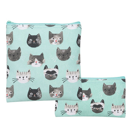 Set of 2 teal snack bags with cats on them.