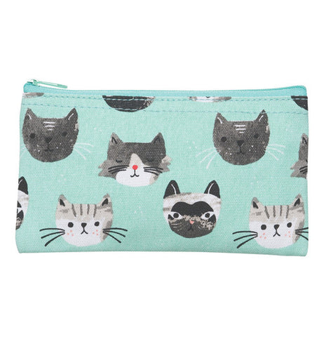 This snack bag is teal with different cats on it.