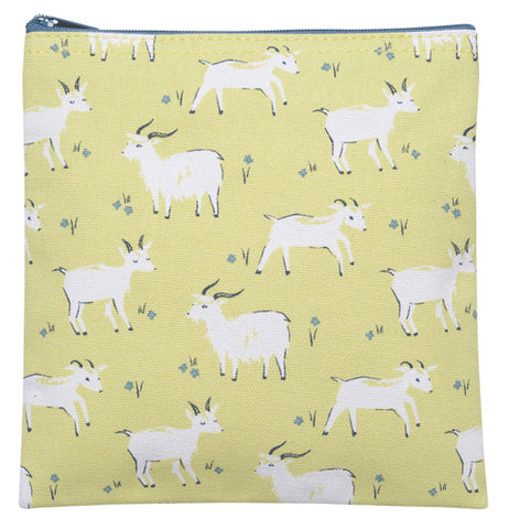 This is a square mustard colored zippered bag with goats on them.