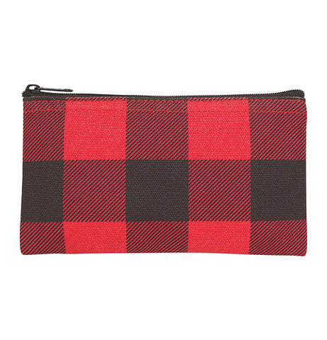 The smaller zip-up bag with the red and black gingham design is shown.