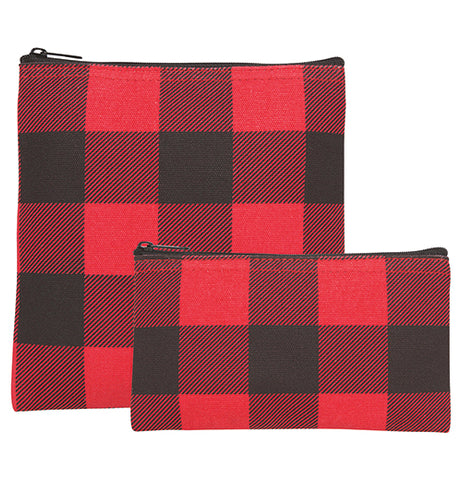 This pair of small zip-up bags each feature a black and red gingham pattern to them. The larger bag is taller, while the smaller bag is shorter.