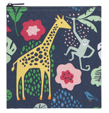 The large snack bag is shown with the pictures of the giraffe and monkey with the red flowers and green plants against the black background.