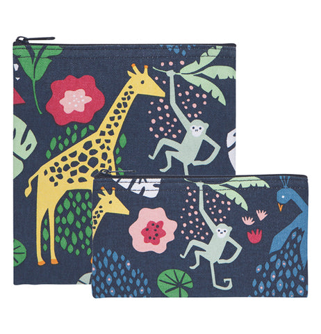 This set of two black snack bags feature designs of a few different exotic animals, like a giraffe, a monkey, and a peacock. Some green, blue, and red plants and flowers are shown adorning the bags as well.