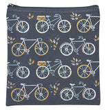 Square shaped black zippered pouch with images of 3 different styled bicycles.