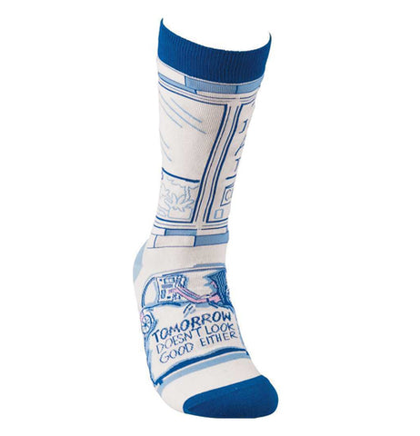 "The front of the sock is shown with a design of a door with the words, ""Tomorrow Doesn't Look Good Either"" in blue lettering."