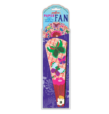 This paper fan is double-sided with green, pink, purple, and turquoise butterflies against a pink background, and is packaged.