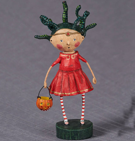 a little girl in a red dress and red stripped stockings with a pumpkin basket, supposed to be Medusa, set on a grey background