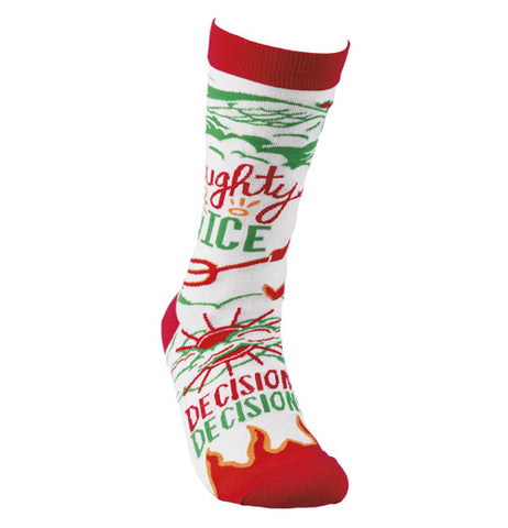 "That pair of ""Naughty Nice"" socks has the color of red and green design of a devil and an angel with the words, ""Naughty or Nice, Decisions Decisions"" in red and orange letters on a white background."