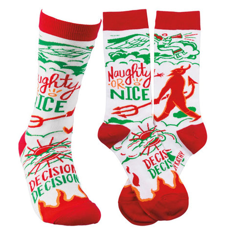 "Three pairs of the ""Naughty Nice"" socks are better than one."