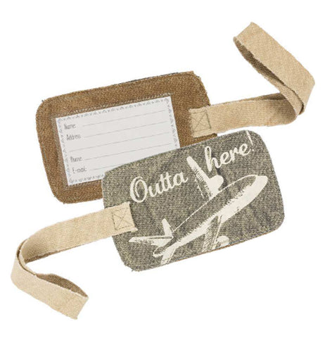 A luggage tag with an airplane that says Outta Here