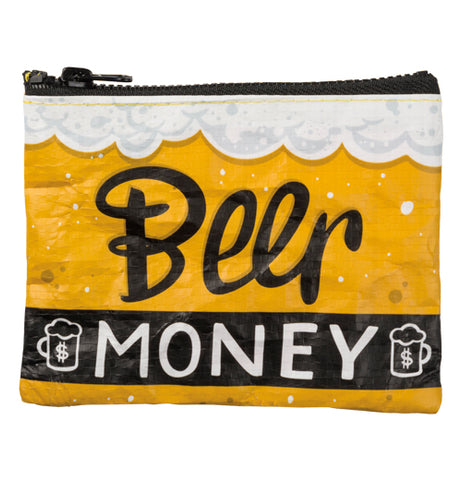 "The ""Beer Money"" Zipper Wallet features double-sided design that reads, ""Beer Money"" on one side under foams with yellow background with filled beer mugs."