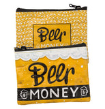 "This yellow zip-up pouch has yellow beer-filled mugs on one side and a white foaming beer head on the other. On both sides, they have the words, ""Beer Money"" in black and white lettering."