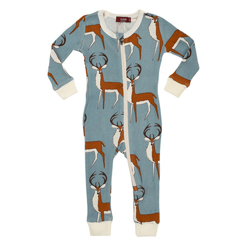 These blue pajamas have a white zipper, cuffs and collar and have brown and white bucks with black antlers from top to bottom designed on them.