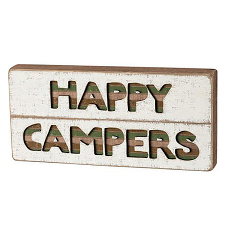 "This cream colored wooden block displays the words, ""Happy Campers"" stenciled in the center."