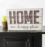 "Distressed White ""Home Our Happy Place"" Wooden Sign"