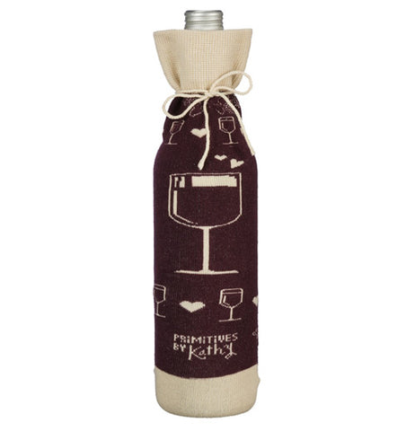 "The ""Pairs Well"" Bottle Cover has glasses of wine on the back."