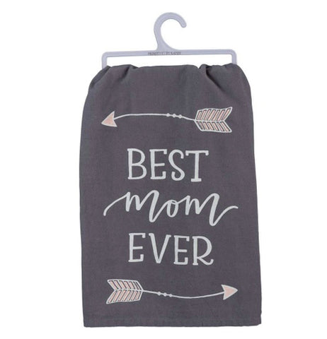 "A charcoal gray dish towel with arrows on the top and bottom facing in opposite direction with text that says ""Best Mom Ever"" in the center."