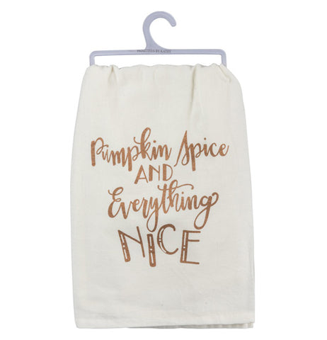 "The ""Pumpkin Spice"" dish towel has copper metallic lettering that reads ""Pumpkin Spice and Everything Nice"" over a white background."