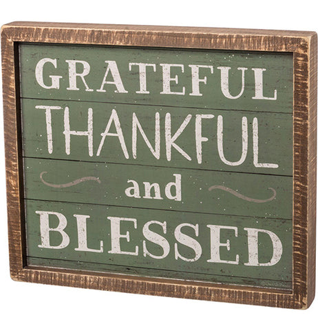 "Box Sign ""Grateful, Thankful, And Blessed"""