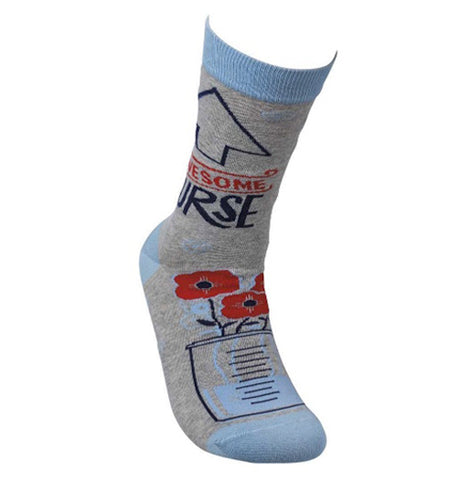 "This gray sock with a blue top, heel, and toe has the words, ""Awesome Nurse"" near the top in red and black lettering. Above the word is a black outlined arrow. Below, near the toes, is a picture of roses in a measuring cup filling with water."