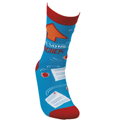 "This blue sock with red tops, heels, and toes has a picture of an orange arrow. Below the image are the words, ""Awesome Teacher"" in white and red lettering."