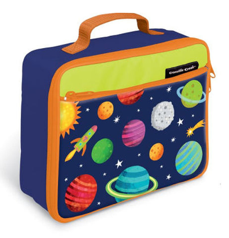 This blue lunchbox with an orange zipper and handle is shown with a design of different solar system planets and a rocket flying by them.