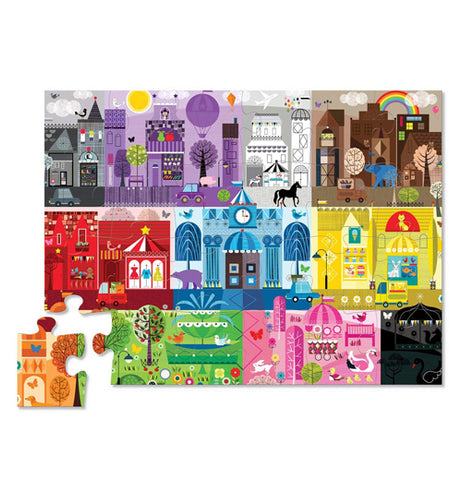 "The Early Learning ""Color City"" Puzzle has all the pieces put together forming the illustration of a city of buildings in different colors."