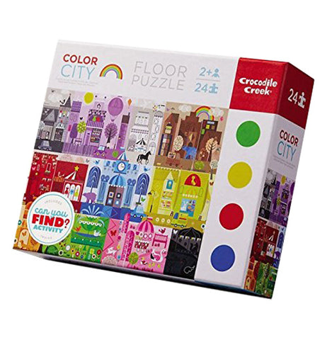 "The Crocodile Creek Early Learning ""Color City"" Puzzle with 24 Pieces are packaged in a box featuring the illustrations of buildings in different colors.."