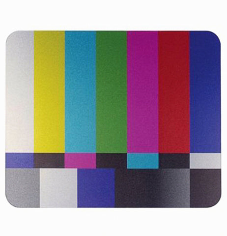 This computer mousepad with a TV testing screen pattern with different colors is shown lying flat.