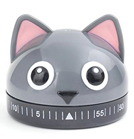 A kitchen timer in the shape of a grey cat with black and white eyes with the number timer below its nose