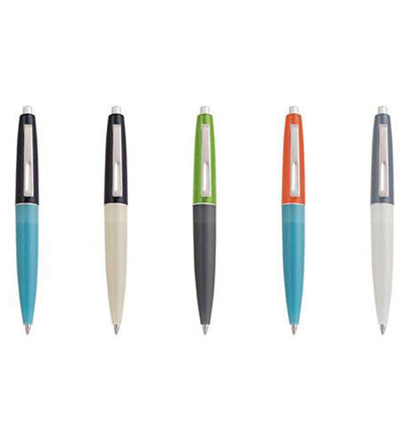 These small different colored pens number five in all. The first one is black and light blue, the second is black and white, the third is green and black, the fourth is orange and light blue, and the fifth is gray and white.