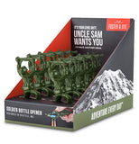 One cardboard display box holding green soldier bottle openers