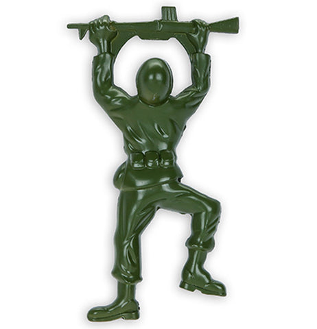 A green bottle opener in the shape of a soldier holding a rifle over his head.