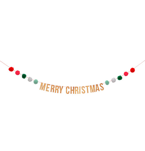 "This string banner has red, green, and gray puff balls with the words, ""Merry Christmas"" in gold lettering, right in the middle."