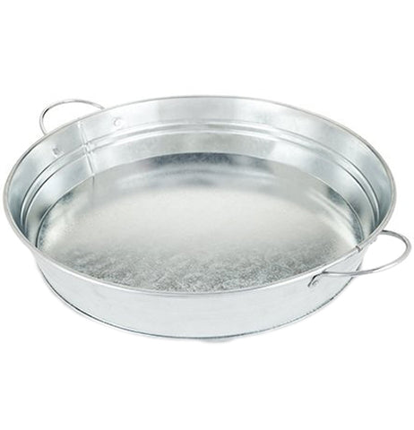 This is a circular serving tray, made of galvanized metal, and with two metal handles on either side to hold it up.