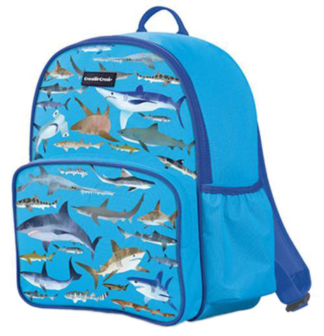 This ocean blue backpack has a design of different shark species covering it.
