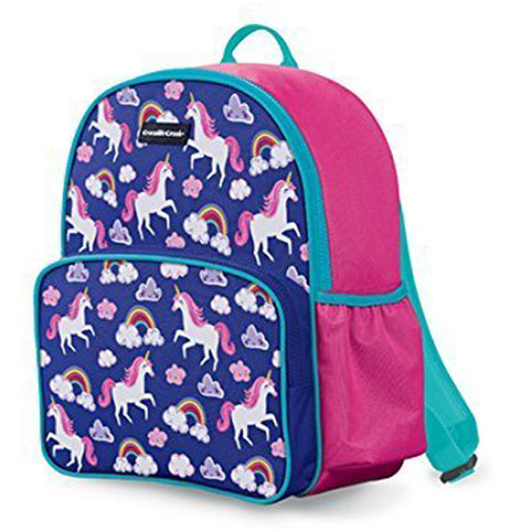 "The ""Unicorn"" Backpack has the design of unicorns, clouds, and rainbows over a purple background."