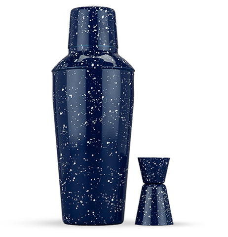 Enamel Shaker and Jigger Set has a dark blue background with white speckles.