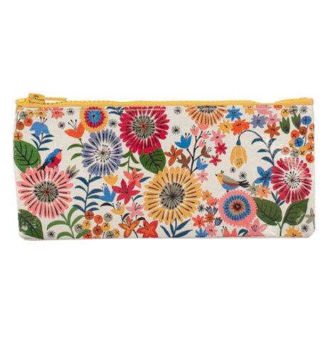 This is a zip-up case to store pencils with a design of beige, red, violet, and pink flowers against a white background.